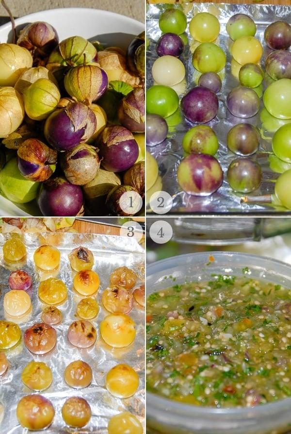 Tomatillo Salsa recipe steps photos collage