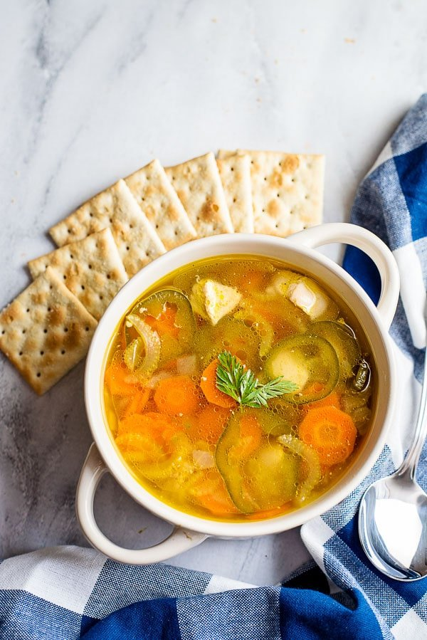 bowl of homemade Chicken Soup with crackers