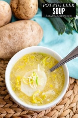 Potato Leek soup in a bowl with recipe title