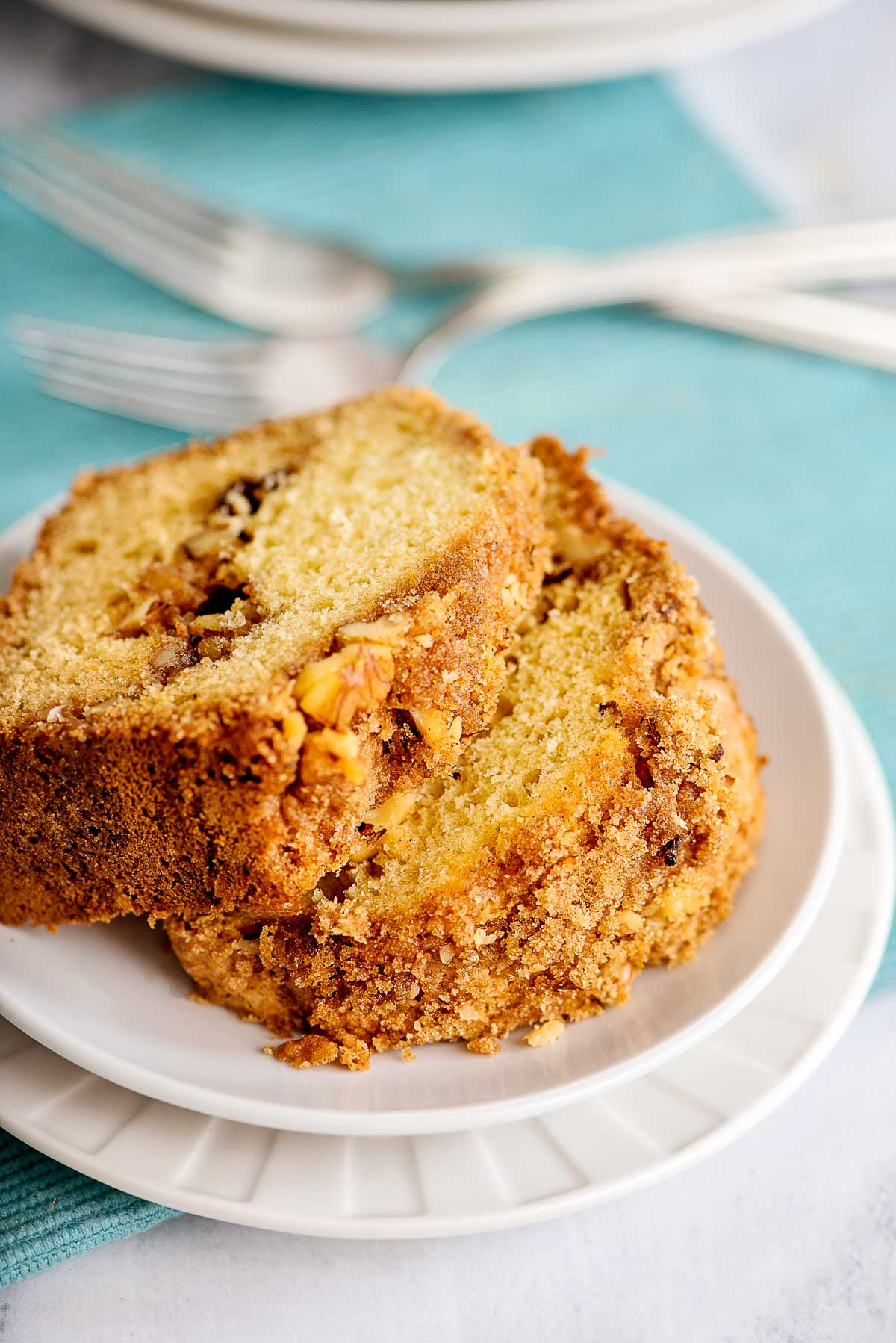 coffee cake with slices tops