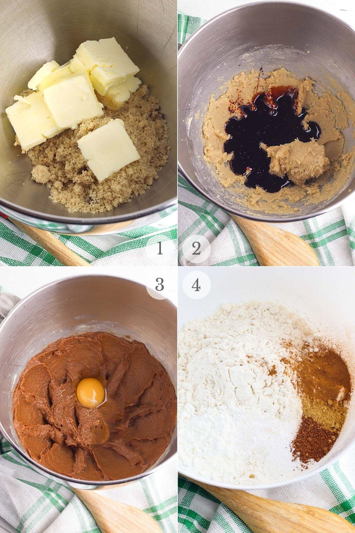 gingerbread cookies recipe steps 1-4