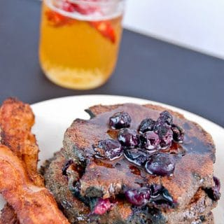 Mesquite Blue Corn Blueberry Pancakes with bacon