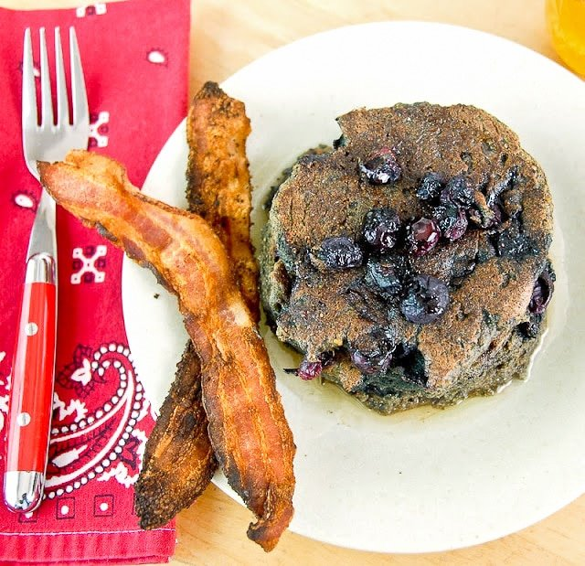 Mesquite Blue Corn Blueberry Pancakes with Chile-Infused Honey. A smoky, Southwestern breakfast you'll love! - BoulderLocavore.com