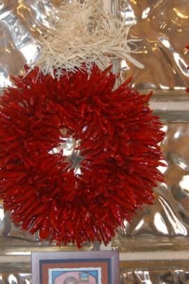 Santa Fe Cooking School chile wreath New Mexico