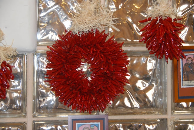 Santa Fe Cooking School chile wreath New Mexico