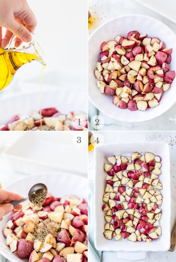 Lavender Roasted Potatoes recipe steps photo collage