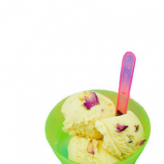 Rose Vanilla Ice Cream with Candied Rose Petals