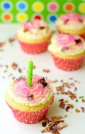 Rose-Cream filled Vanilla Cupcakes with Candied Rose Petals