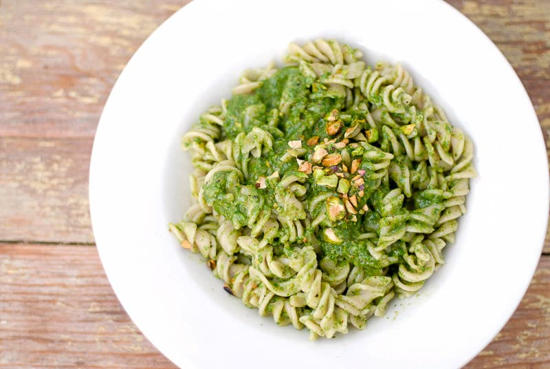 Arugula Pistachio Pesto with Brown Rice Fusili Pasta- BoulderLocavore.com