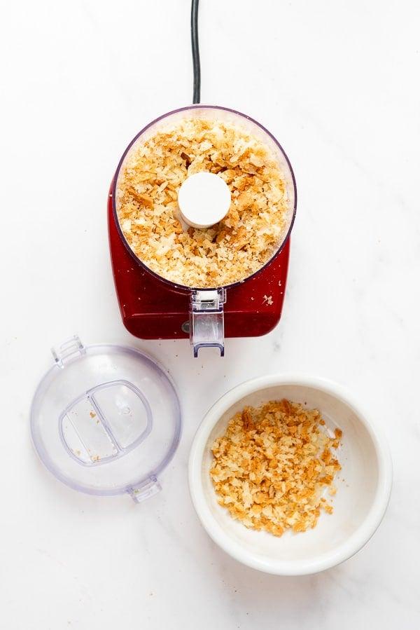 making homemade breadcrumbs with mini chopper