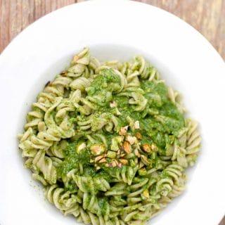 Toasted Pistachio Arugula Pesto with Brown Rice Fusili Pasta - BoulderLocavore.com