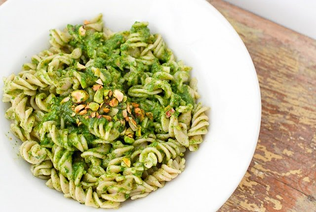 Toasted Pistachio Arugula Pesto with Brown Rice Fusili Pasta - BoulderLocavore.com