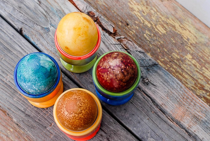 four natural dye easter eggs