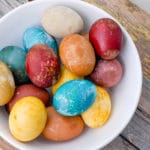 Bowl of natural dye Easter eggs