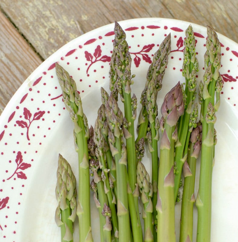 platter of uncooked wild asparagus