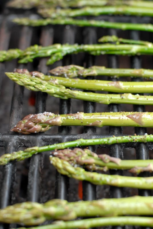 Grilled wild asparagus