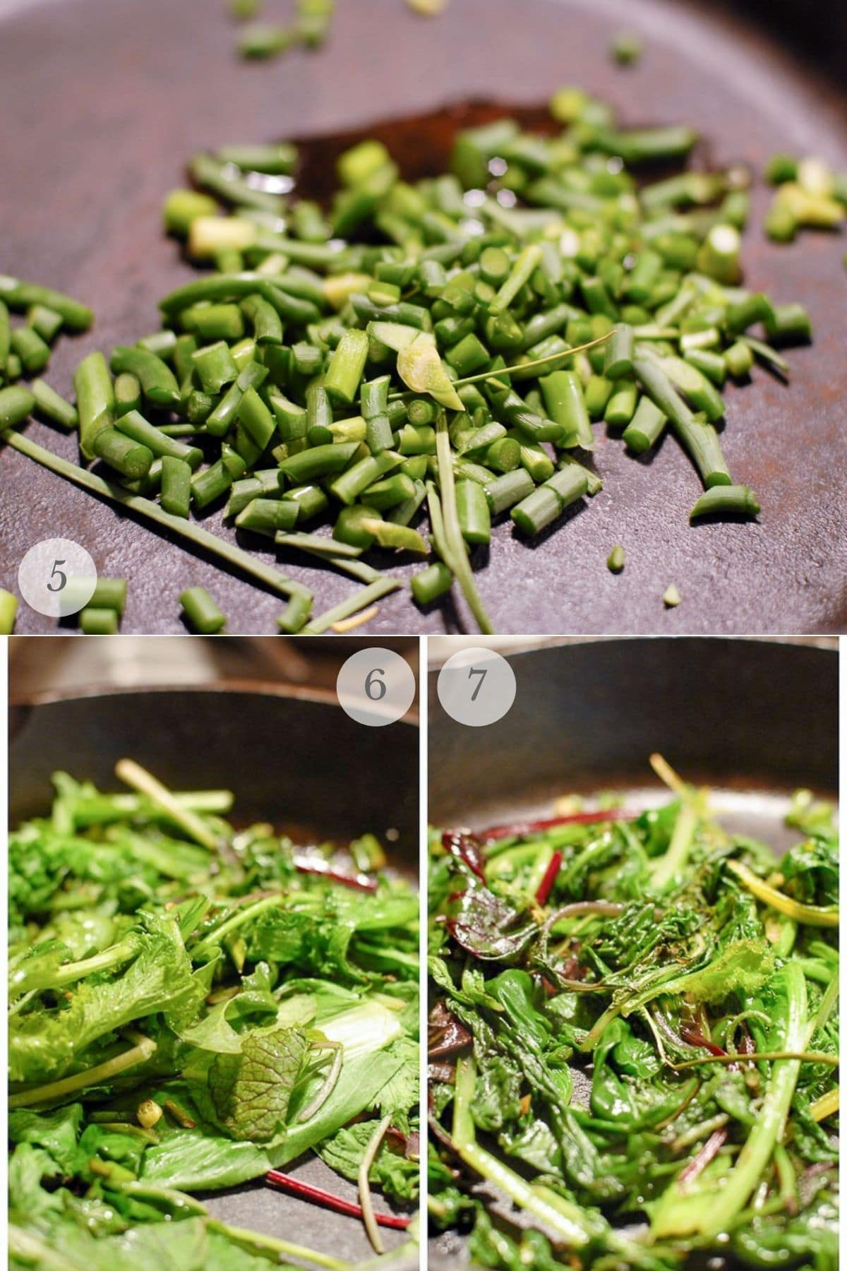 fried polenta with greens recipe steps 5-7