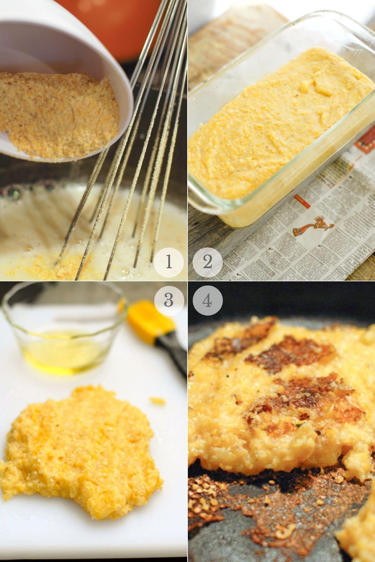 pan fried polenta and greens recipe steps 1-4