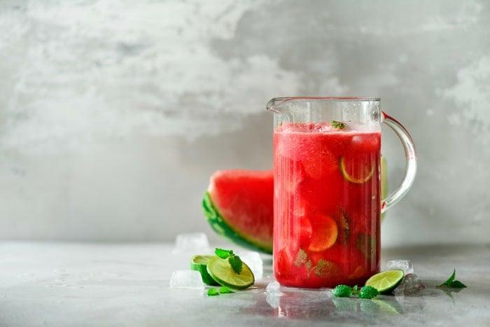 pitcher of watermelon margaritas