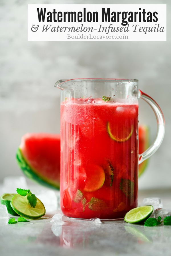 Watermelon Margaritas and homemade Watermelon-Infused Tequila are so easy to make. You'll want a batch of this tequila in the fridge all summer long to make margartias any time! #watermelon #margaritas #cocktail #tequila #infusion #adultdrinks #easyrecipe