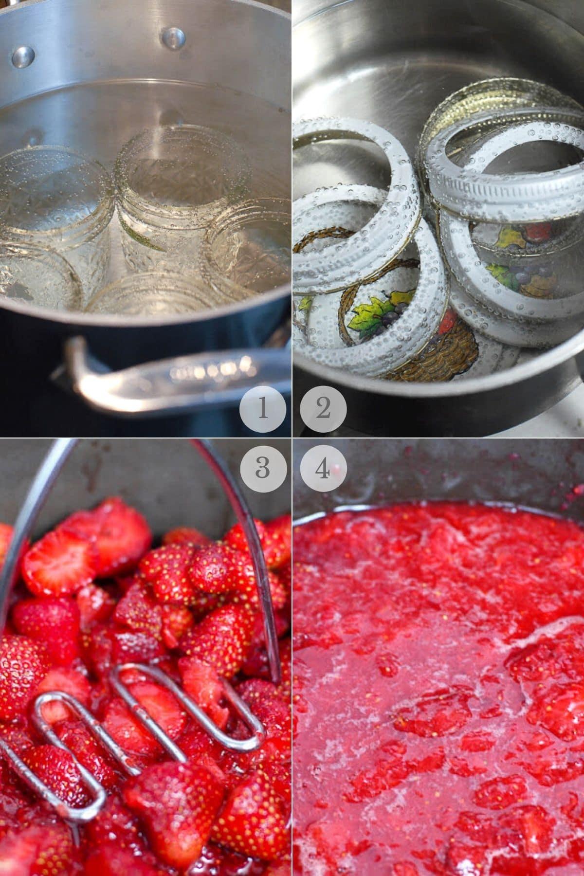 EASY STRAWBERRY JAM RECIPE STEPS 1-4 collage