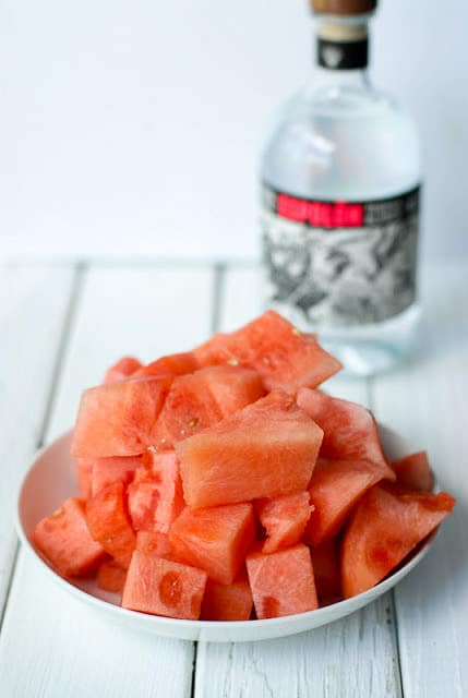 Watermelon pieces for Watermelon Infused Tequila - BoulderLocavore.com
