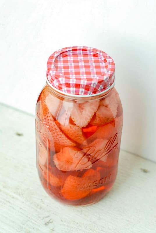 Jar of strawberry vodka