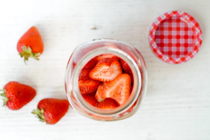 Jar with strawberries