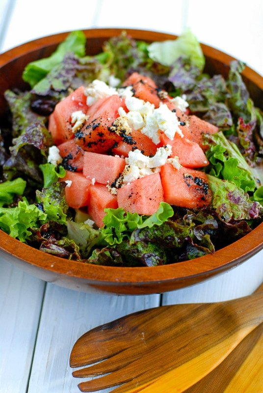 watermelon goat cheese salad in bowl