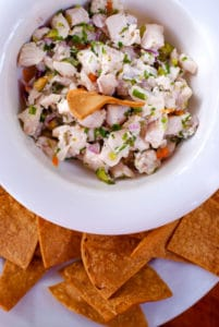 Costa Rican fresh ceviche with chips at Lola's in Costa Rica
