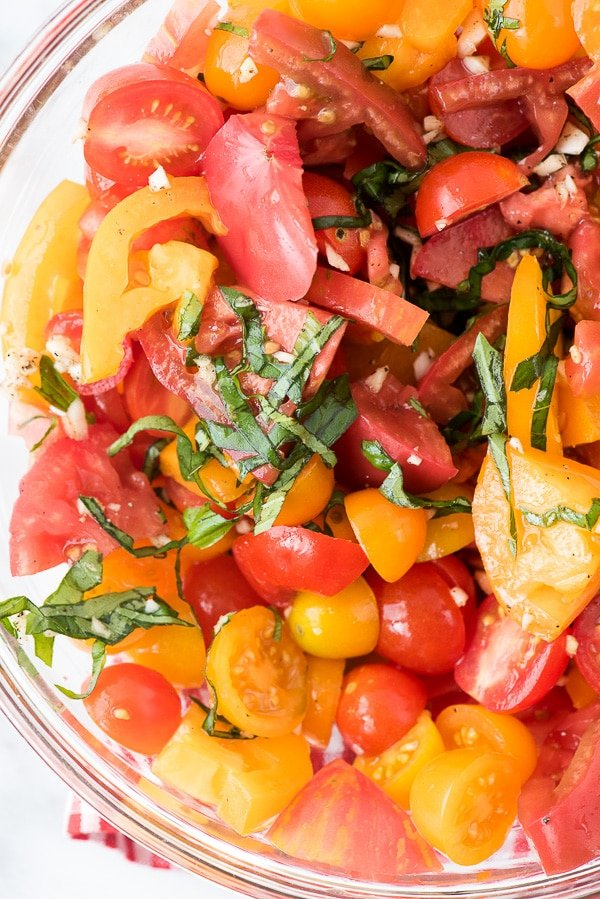 fresh tomatoes tossed with basil