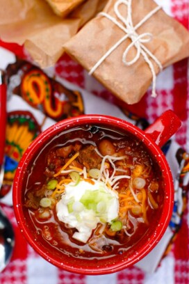 Big Red Barn Chili. A hearty chili with sirloin, seasonal vegetables and roasted chile peppers!