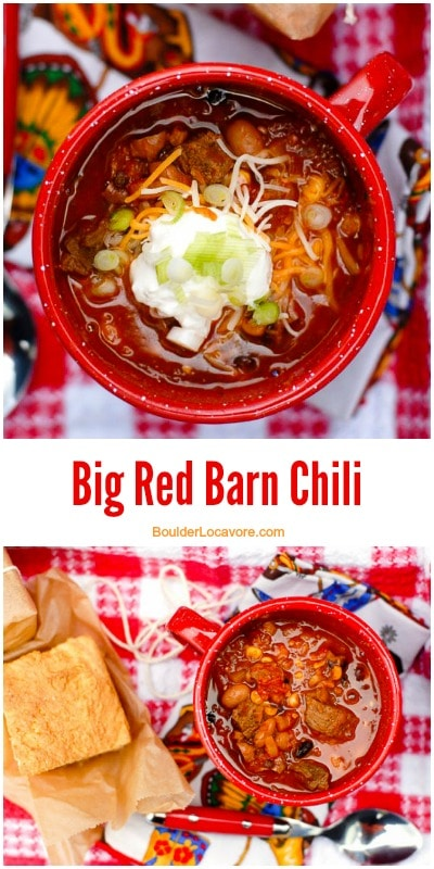 Big Red Barn Chili. A hearty chili with sirloin, seasonal vegetables and roasted chile peppers! BoulderLocavore.com