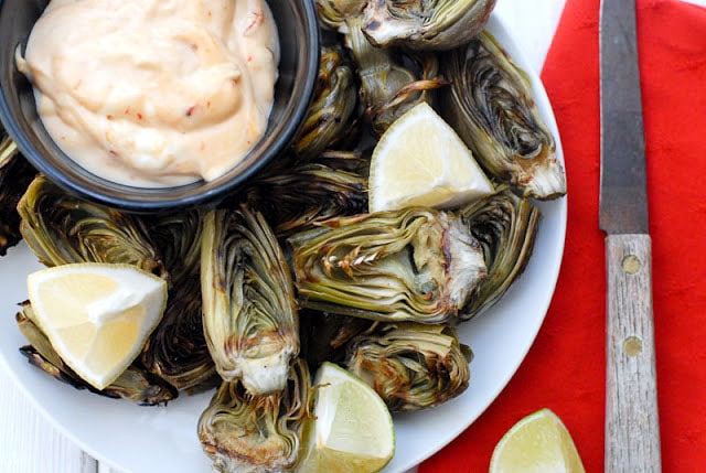 Grilled Baby Artichokes with Chipotle-Mayo Dipping Sauce - BoulderLocavore.com