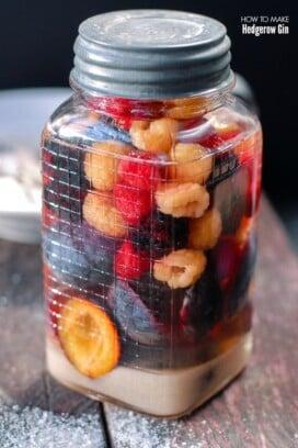 jar of homemade hedgerow gin