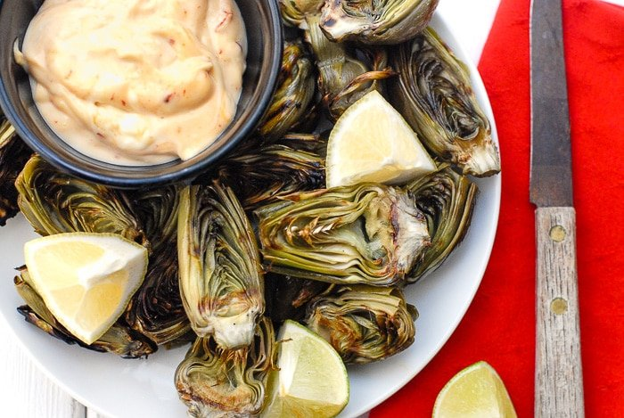 grilled artichokes with chipotle mayo dipping sauce