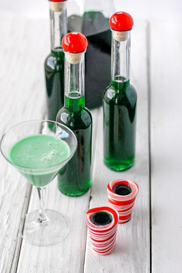 Bottles of Creme de Menthe and Grasshopper Cocktail