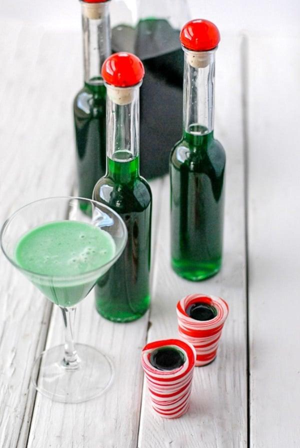 Bottles of Creme de Menthe and Grasshopper Cocktail