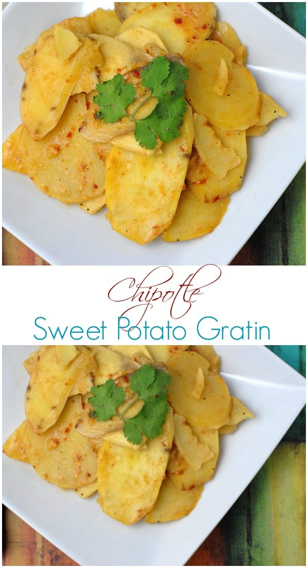 Chipotle Sweet Potato Gratin. Smoky, spicy, sweet and creamy; the perfect side dish!  BoulderLocavore.com