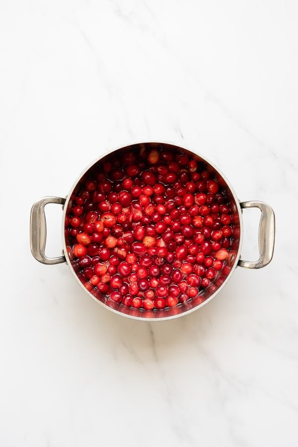 Cranberry Salsa boiled cranberries in pan