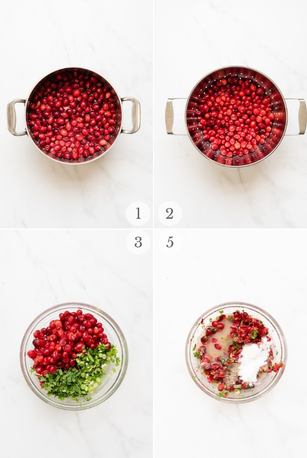 cranberry salsa instruction steps (photo collage)