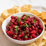 Cranberry Salsa in a white bowl title image