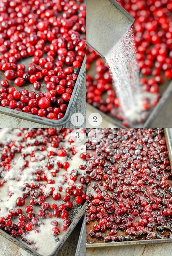brandied cranberries process steps photo collage