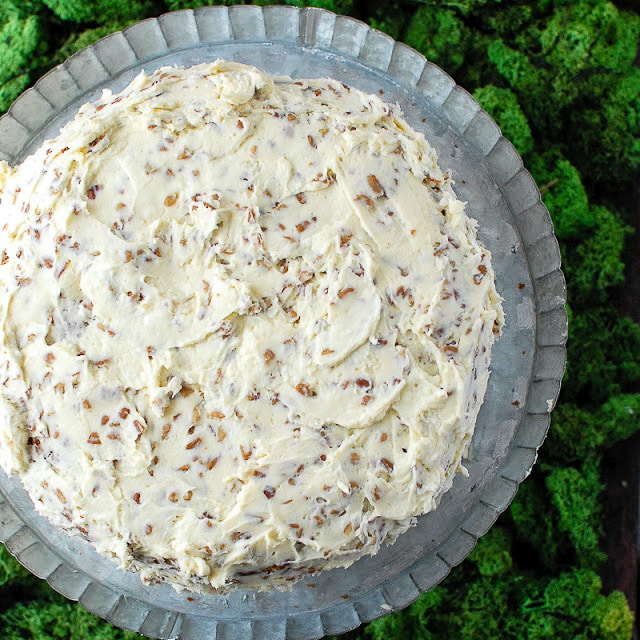 Best Hummingbird Cake with banana bread and carrot cake flavors in a tangy cream cheese pecan frosting. BoulderLocavore.com