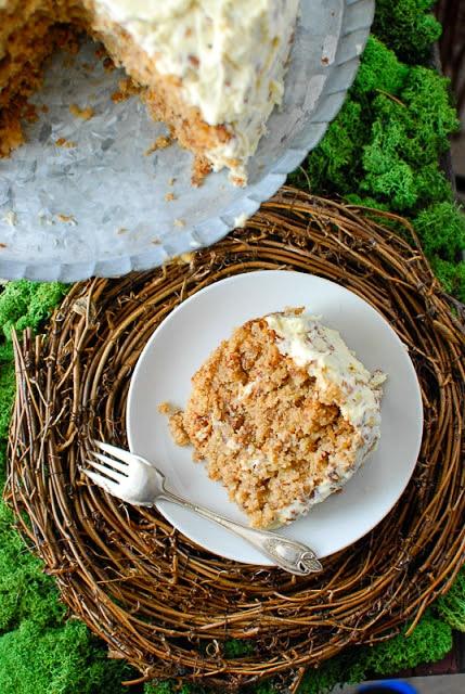 Banana bread meets Carrot Cake in freshly baked Best Hummingbird Cake single slice on white plate. BoulderLocavore.com
