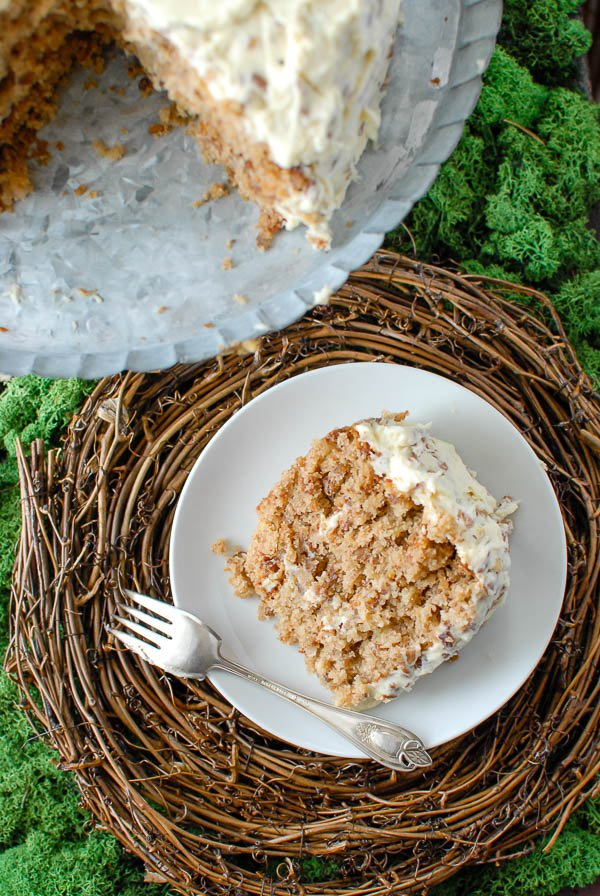Slice of Hummingbird Cake overhead