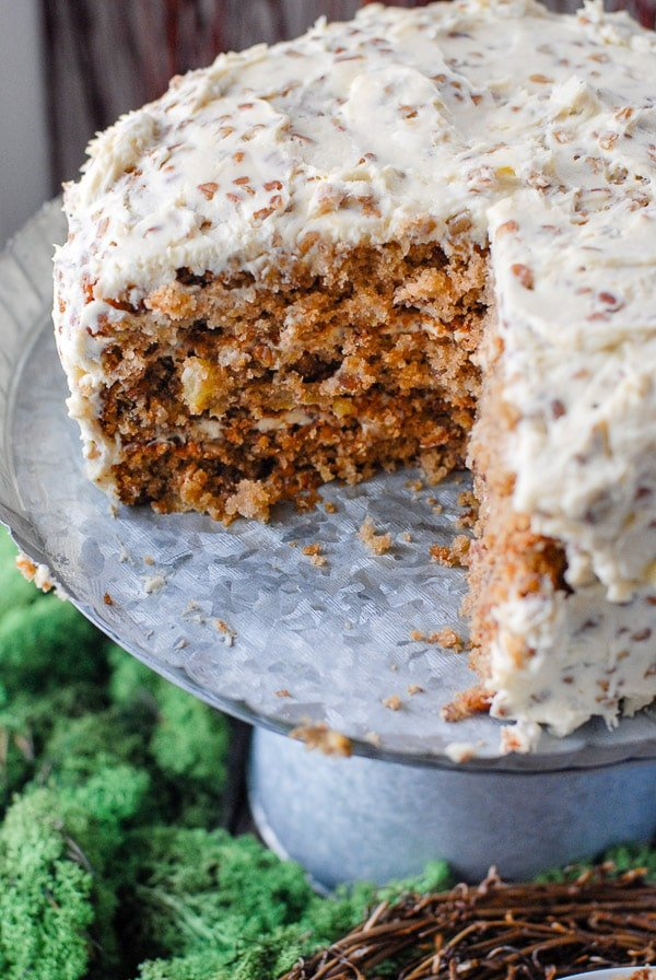Hummingbird Cake with slice removed