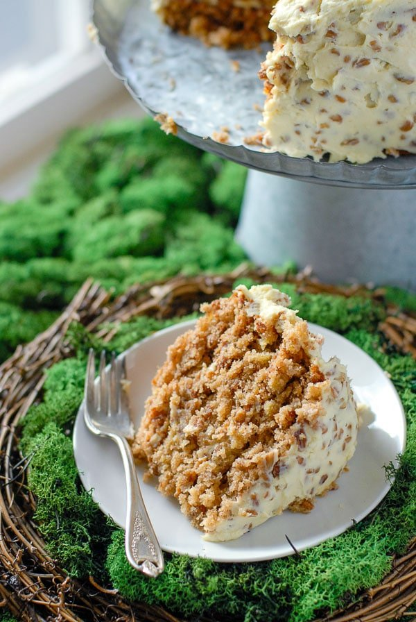 Slice of Hummingbird Cake with fork