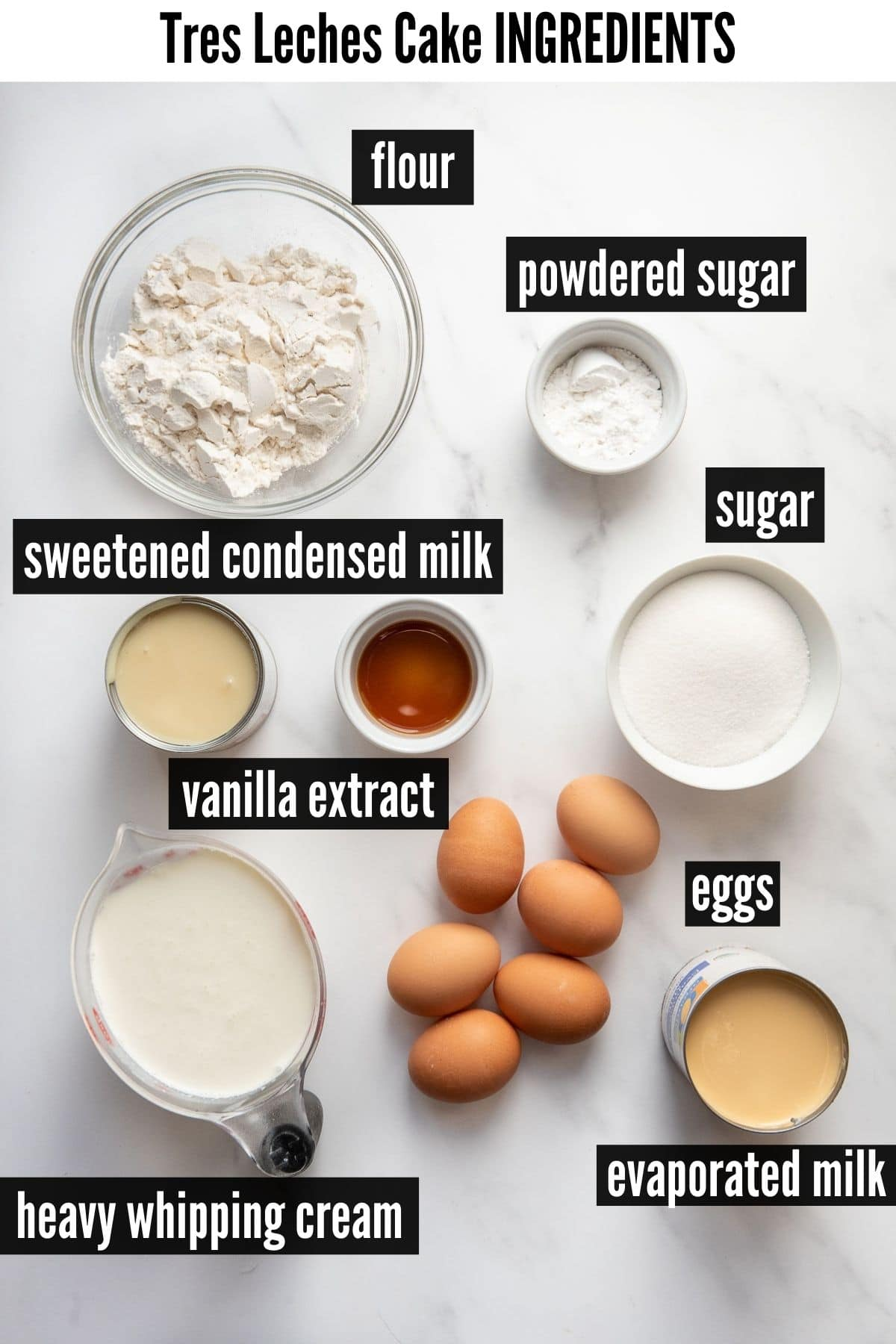 tres leches cake ingredients