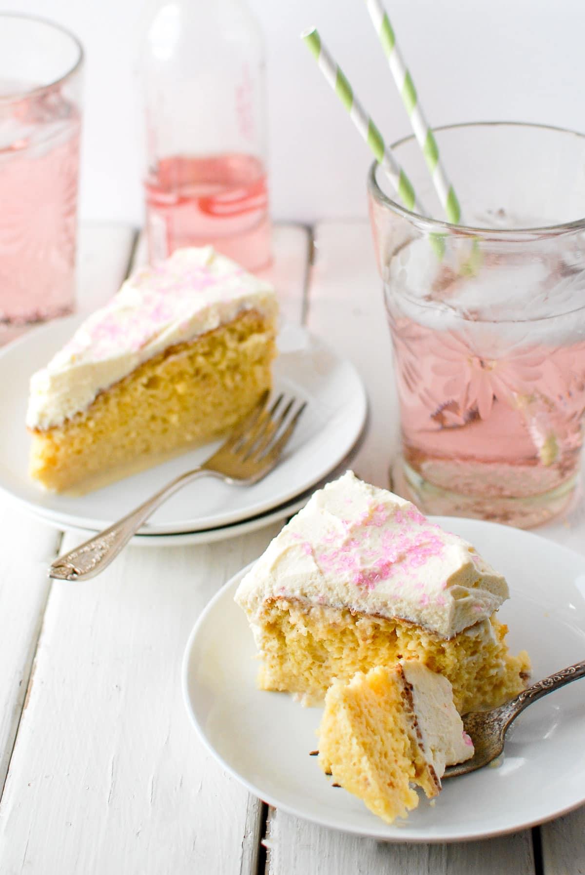 tres leches cake slice close up